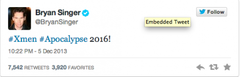 Brian singer tweet x-men